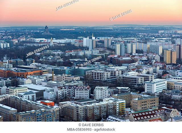 Architecture, outside view, from above, sundown, Saxon, Leipzig, Germany, Europe