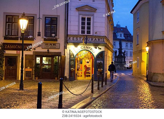 Restaurants and bars in the Mala Strana neighborhood at dusk, Prague, Czech Republic, Europe