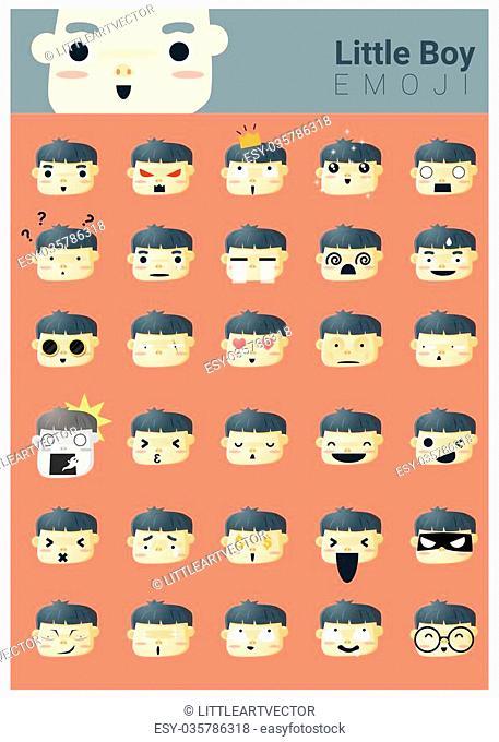 Little boy emoji icons, vector, illustration