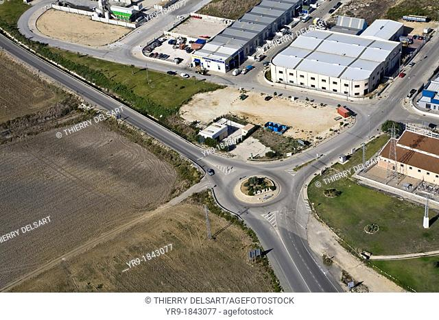 Aerial view of Conil de la Frontera sign on the entry roundabout Cádiz area Spain