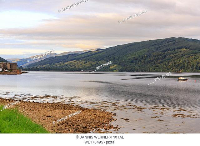 Loch Fyne lies still on a summer day in the highlands of Scotland, UK