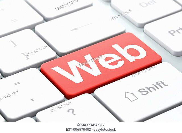 SEO web design concept: computer keyboard with word Web, selected focus on enter button background, 3d render