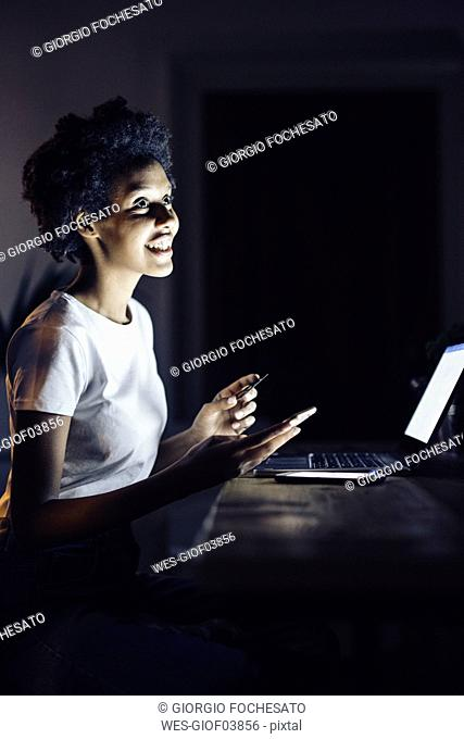Young woman with credit card, shopping online at night from home