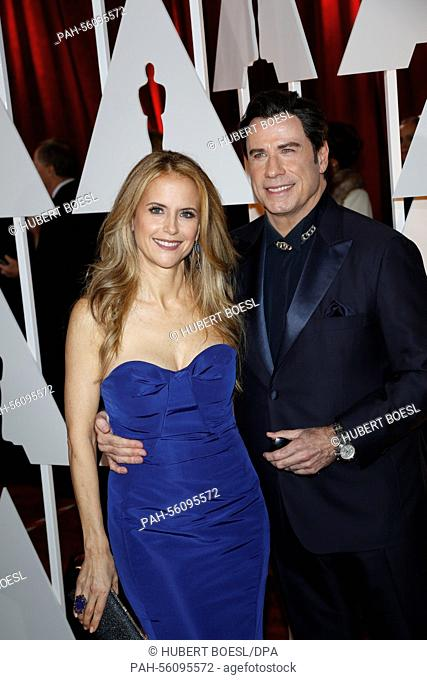 Actress Kelly Preston and her husband, actor John Travolta, attend the 87th Academy Awards, Oscars, at Dolby Theatre in Los Angeles, USA, on 22 February 2015