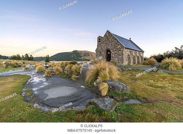 Church of the Good Shepherd at dusk, Lake Tekapo, Mackenzie district, Canterbury region, South Island, New Zealand