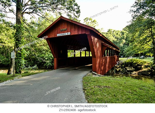 The Ross Red Covered Bridge in Tawawa Park, Shelby County Ohio