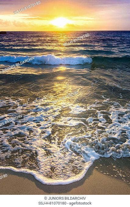Sunset at beach Anse Louis, Seychelles