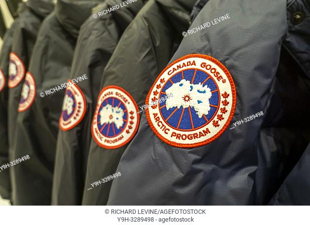 Canada Goose brand parkas in a store in New York on Saturday, January 5, 2019. (© Richard B. Levine)