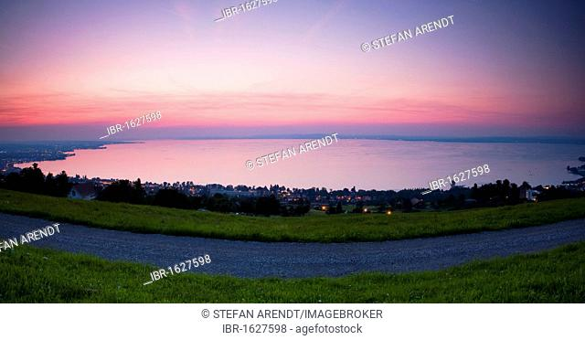 View from Rorschacherberg mountain towards Lake Constance in the evening, Switzerland, Europe
