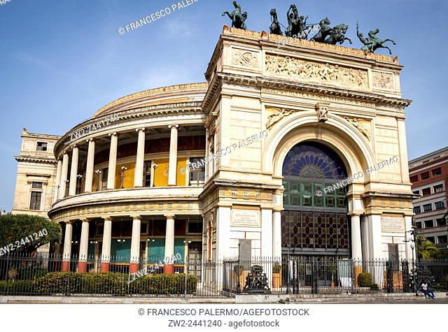 Politeama famous theater with its colors and shapes. Palermo, Sicily. Italy