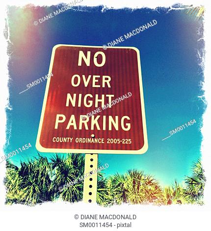No Overnight Parking Sign at the beach, Vilano Beach, Florida, USA
