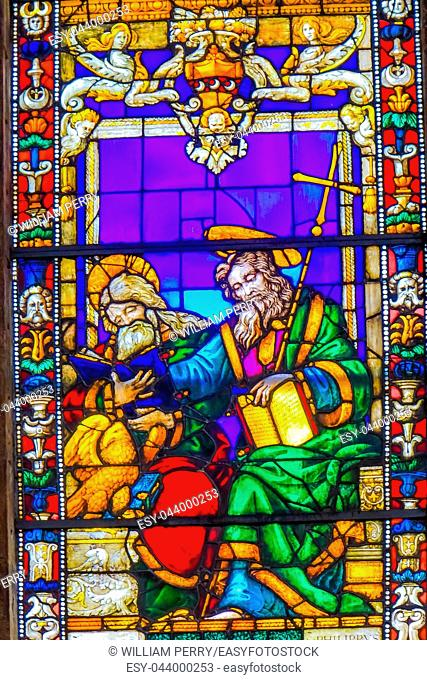 Saint John Gospel Writers Stained Glass Chapel Santa Maria Novella Church Florence Italy. First Church in Florence founded 1357