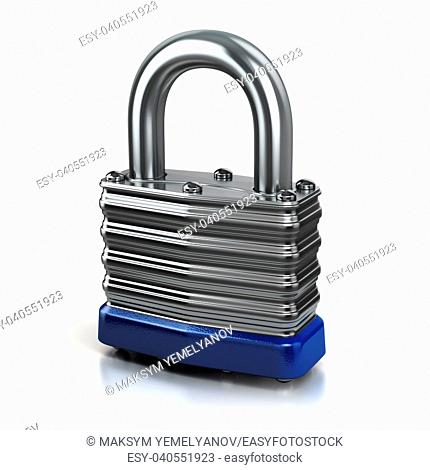 Steel lock or padlock isolated on white background. 3d