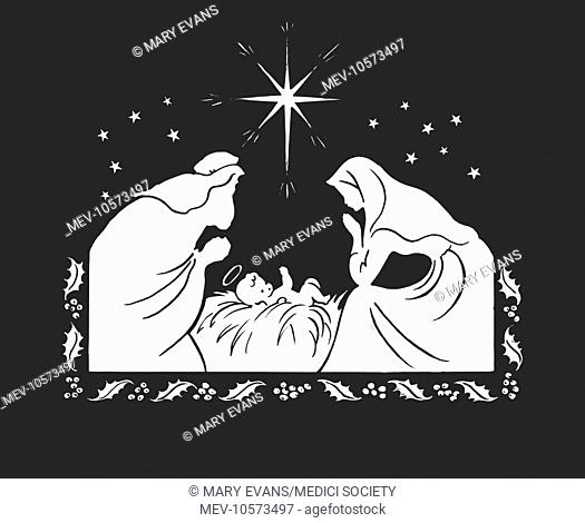 'Holy Baby in Crib with Mary and Joseph kneeling' (single colour design)