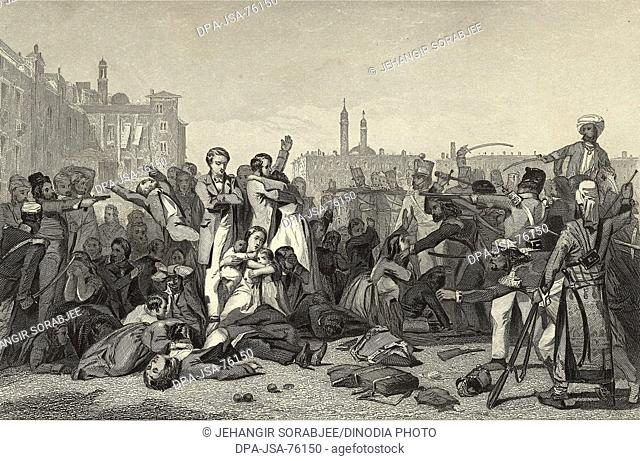 Miniature Painting , Massacre at Cawnpore Rebels killing British officers and their families 1857 , India
