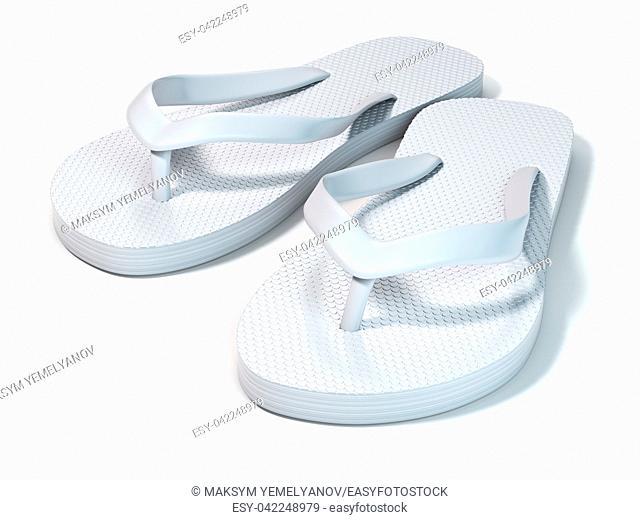 White flip flops isolated on white background. 3d illustration