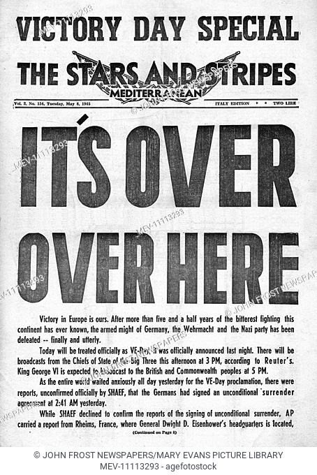 1945 Stars and Stripes (US military newspaper) front page reporting VE Day