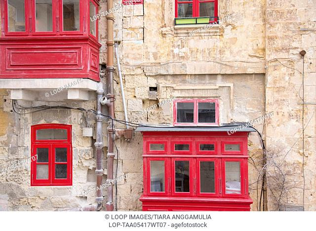 A view towards red windows in Old Town Valletta