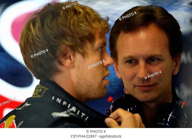 Christian Horner, Sebastian Vettel, Saturday Practice, Formula One, European Grand Prix, Valencia, Spain