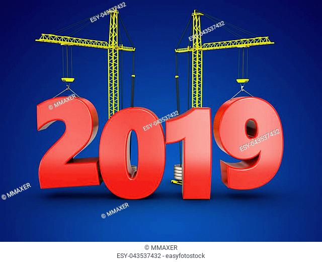3d illustration of 2019 year with crane over blue background