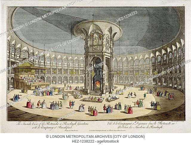 The Rotunda in Ranelagh Gardens, Chelsea, London, c1750. Interior of the fashionable Rotunda where the well-to-do came to see and be seen