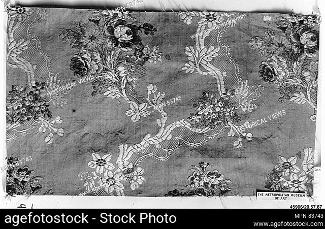 Piece. Date: 1750-60; Culture: French; Medium: Silk; Dimensions: 9 1/4 x 16 inches (23.5 x 40.6 cm); Classification: Textiles-Woven; Credit Line: Rogers Fund