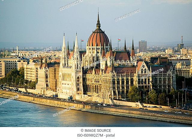 Hungarian parliament building and river danube