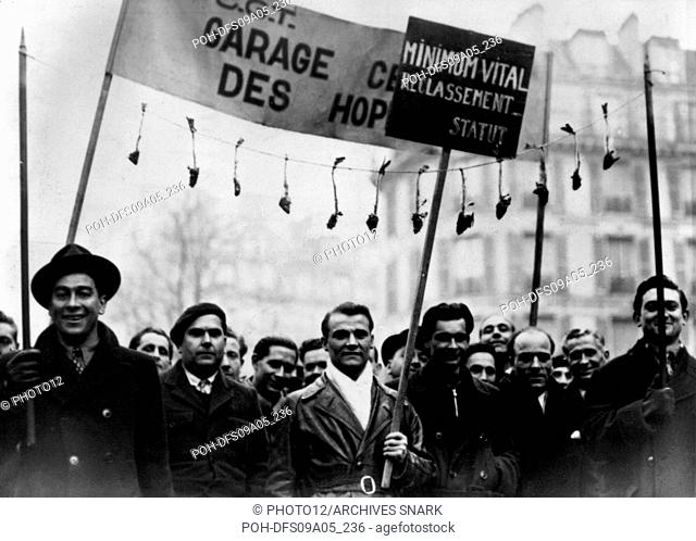 Demonstration of the C.G.T. (General Confederation of Labor) in Paris  in 1936, after the rise to power of the Popular Front