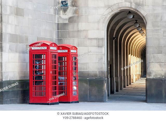 Red telephone box, Manchester, England, United Kingdom