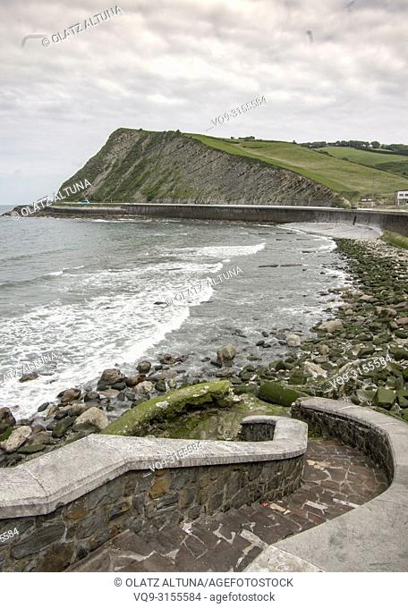 Stairs to Orrua beach, Zumaia, Gipuzkoa Basque Country, Spain