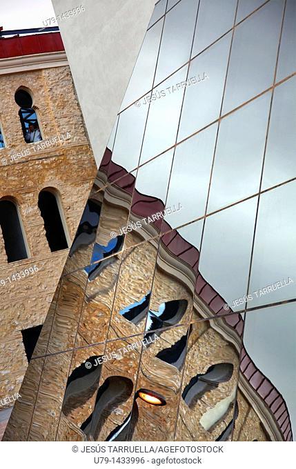 Mirror image of the Plaza de Toros de Villena, Alicante, Valencia, Spain, Europe