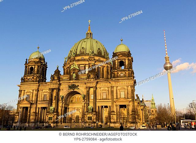 Berlin Cathedral and television tower, Berlin, Germany