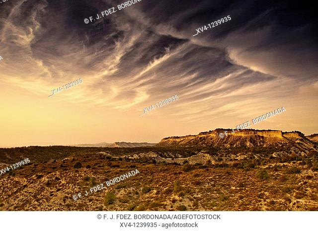 Monegros Steppes landscape  Aragon  Spain  Europe