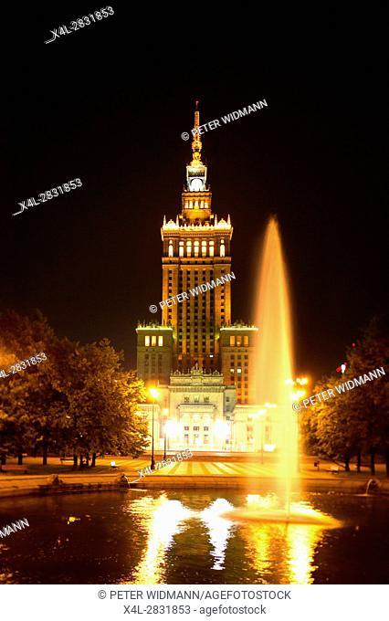 The Palace of culture in Warsaw at night, Poland, Europe