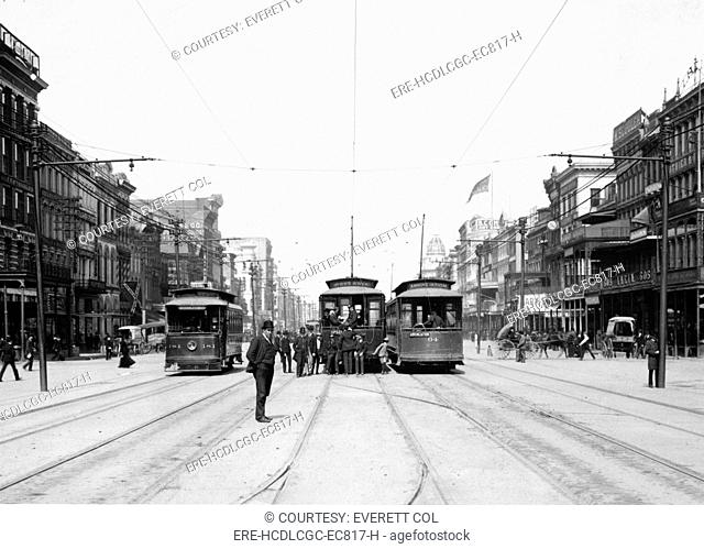 Streetcars on Canal St., New Orleans, La. ca. 1907