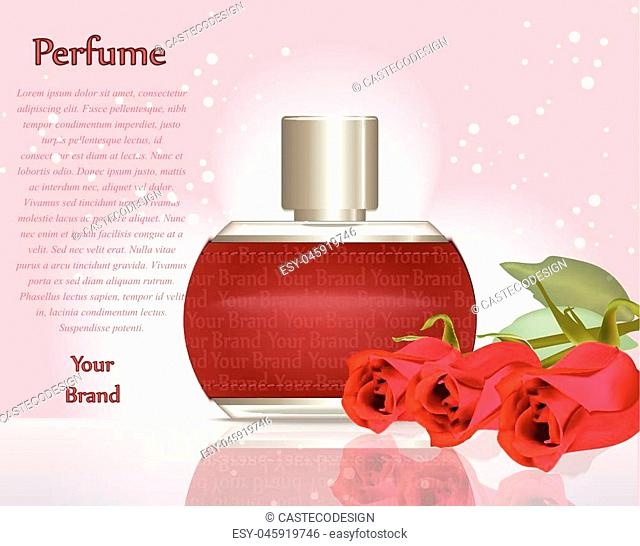Perfume cosmetics and perfume ads template. Silver bottle sparkling background. Realistic red roses decoration. 3d Vector illustration