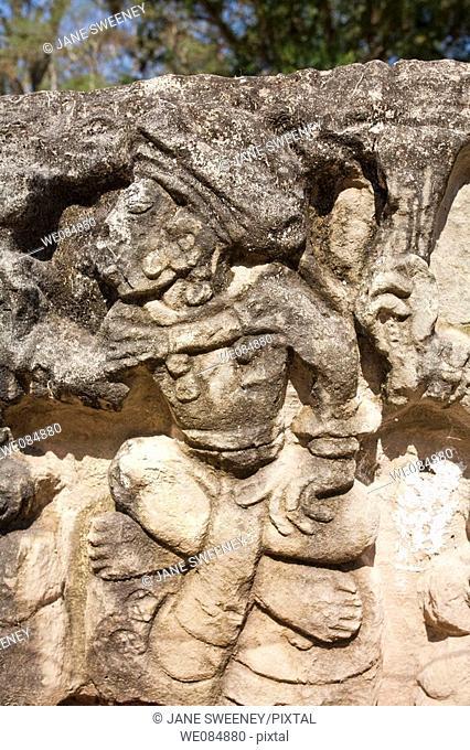 Altar Q, West Court, Mayan ruins of Copan, Honduras