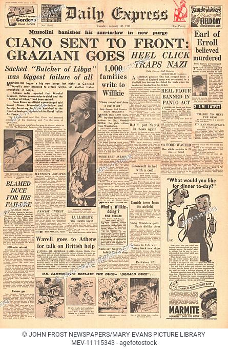 1941 front page Daily Express Mussolini sacks Count Ciano and Marshal Graziani and Lord Erroll shot in Kenya