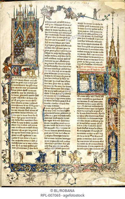 Hermit before the Holy Grail Whole folio LH miniature, the hermit prostrate before the altar on which is the Holy Grail with hand of God above