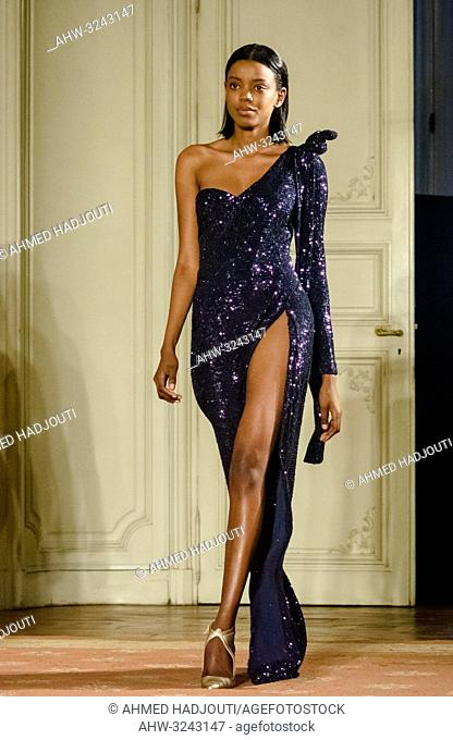 PARIS, FRANCE - February 26 : A model walks the runway during the Fatima Lopes show as part of the Paris Fashion Week Womenswear Fall/Winter 2019/2020 on...