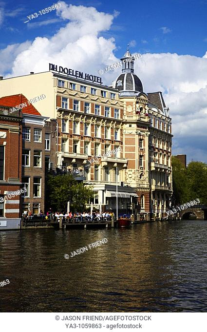 Netherlands, North Holland, Amsterdam  The oldest Hotel in Amsterdam, The NH Doelen Hotel, located on the banks of the River Amstel in Amsterdam City