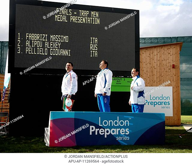 2012 ISSF Shooting World Cup Royal Artillery Barracks Apr 27th. 27.04.2012 London, England. The winners of the Mens Trap competition