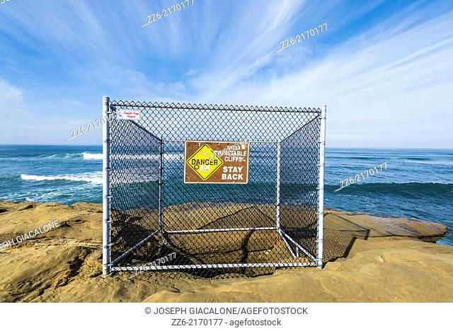 Danger Sign at Sunset Cliffs Natural Park. San Diego, California, United States