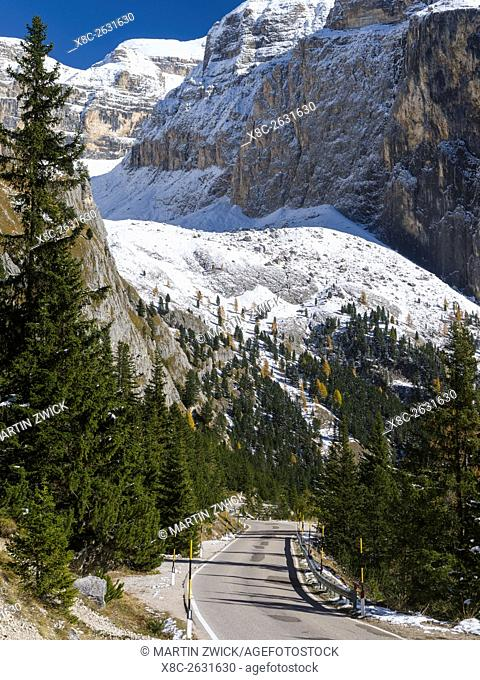 Mountain road leading up to Mountain Pass Sellajoch - Passo Sella in the Dolomites of South Tyrol - Alto Adige. Approach from Fassa Valley - Val di Fassa