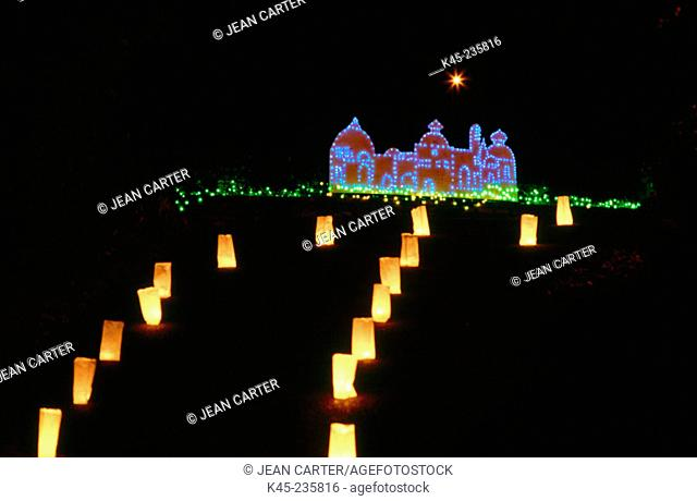 Holiday lights at road, private residence. Coos Bay. Oregon. USA