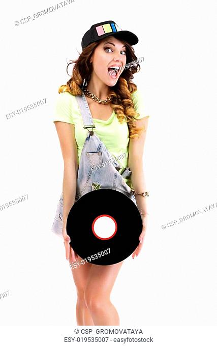 Laughing Jubilant Woman with Vinyl Record Isolated on White Background