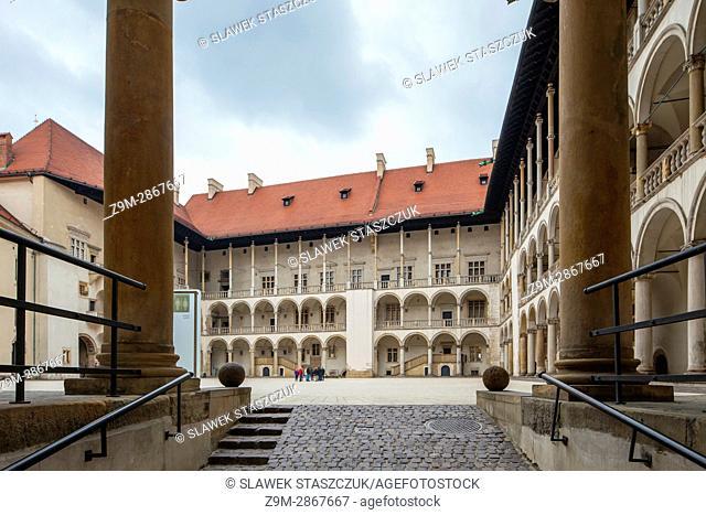 Courtyard of royal Wawel Castle in Krakow, Poland
