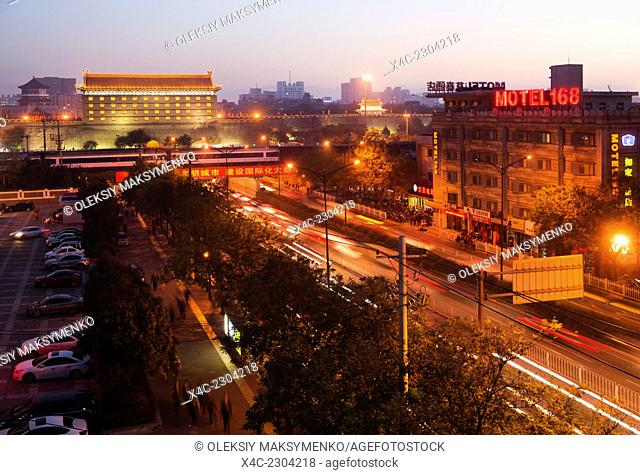 Xi'an city wall nighttime scenery, Shaanxi, China 2014