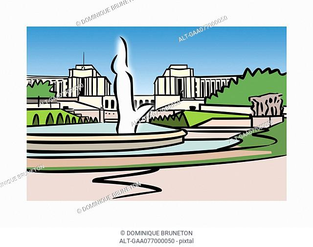 Illustration of Varsovie Fountain, Trocadero, Paris, France