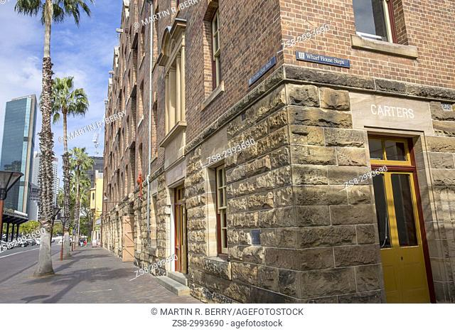 The Rocks area of Sydney city centre with its historic features from the early settlers,Sydney city centre,Australia